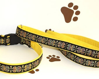 """Dog Collar and Leash Set """"Together"""" Special Price Jacquard Ribbon Elegant Accessories"""