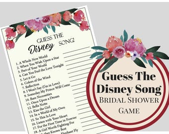 Floral Guess The Disney Song Bridal Shower Game, Bachelorette Party Game, Printable Bachelorette Game, Hens Night Game, Wedding Game