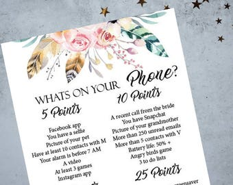 Whats On Your Phone Bachelorette Party Game,  Boho Printable Bachelorette Game, Bridal Shower Game, Hens Night Game