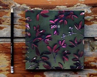 Daily Planner 2018 Forest Flowers | Journal, Weekly Planner | 12 Months Planner | Choose your start month