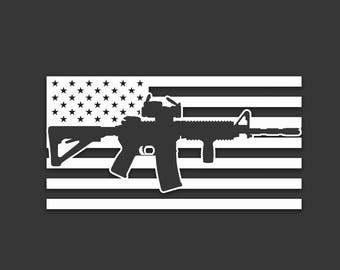 AR15 USA Flag Decal Sticker - Choose Your Color and Size