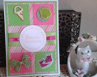 "Card ""Happy holidays"" green and fuschia"