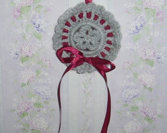 Wall decor handmade romantic and delicate grey and Burgundy Ribbon