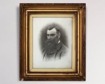 Stunning Victorian Photograph On Porcelain - Bearded Gentleman