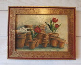 Painting Tulip table & clay Pots