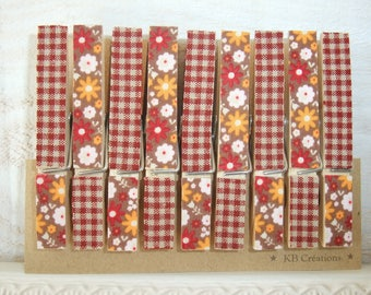 9 clips linens decorated (No. 36) vintage brown/orange
