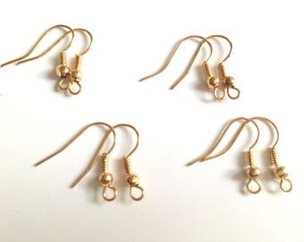 Set of 8 gold earrings - hook brackets.
