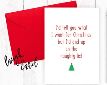 Funny Christmas Cards, Christmas Cards, Boyfriend Christmas Cards, Girlfriend Christmas Cards, Wife, Husband Christmas Cards | Naughty list