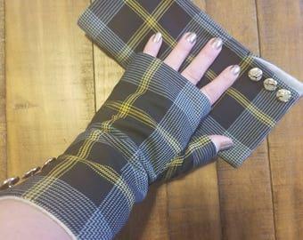 Gauntlet Style Fingerless Gloves - Modern Black & Yellow Plaid - Button Detail - Scottish/Celtic Theme - Tartan