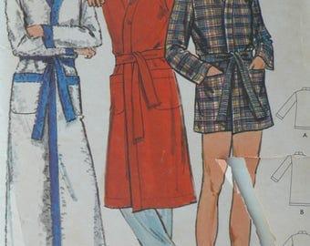 Men's Robe Pattern, Vintage Butterick 6275 Size Medium, CoPA Pattern circa 1970