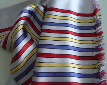 """Vintage Scarf, Silver with Red, Blue and Yellow Stripes, Approximately 46"""" x 12"""""""