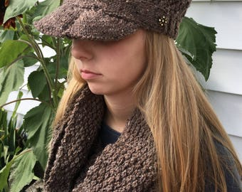 Hand knitted hat and scarf
