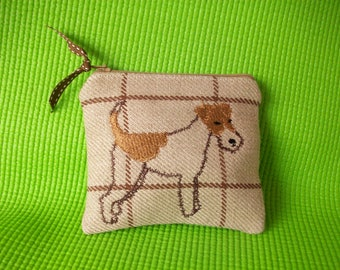 Embroidered Dog Coin Purse