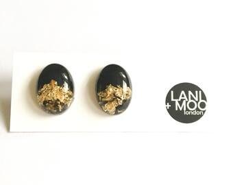 Oval Black Resin Stud Metallic Gold Leaf Statement Earrings!