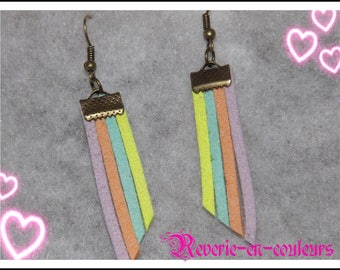 Suede Rainbow earrings