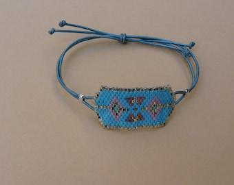 Miyuki Delica 11/0, leather cord bracelet