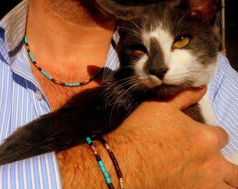 BRACELETS couple Homme perles pierre Turquoise, Hématite noir,bracelet chanceuse, perles cloisonnées,gemmes guérison,cadeau homme