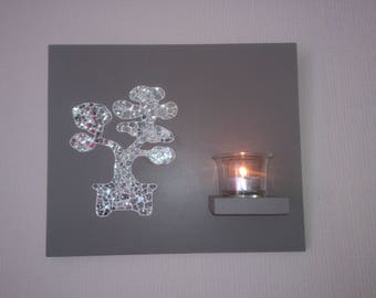 """Bonsai"" Silver mirror mosaic candle table"