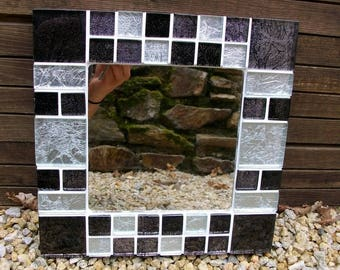 Black and silver glass mosaic mirror
