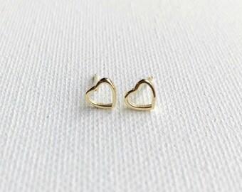 Tiny Gold Heart Sterling Silver Dainty Earrings