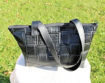 "Handbag ""tote"" faux leather black braided effect - handmade"