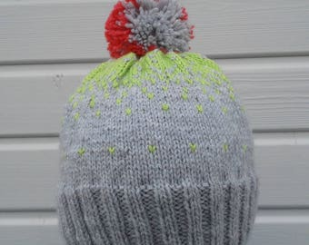 Pink gray-green winter Hat