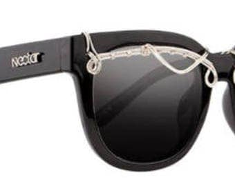 Oversize Wayfarer Silver Wire Wrap Sunglasses - Nectar Beryl Sunglasses