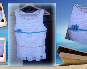 PRETTY TOP in white cotton, embroidery, ribbons, beads