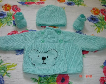 """set """"Cardigan hat and booties matching"""""""
