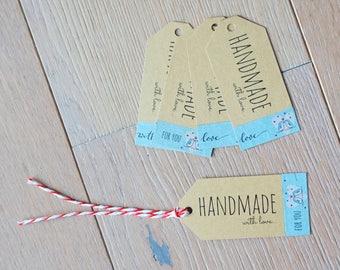 Handmade-Label Pendant-set of kraft paper with penguin motif