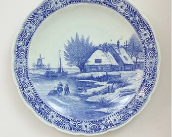 Vintage Dutch Large  Ceramic Wall Hanging  Plate, Blue & White ,  Maastricht  Delfts  1950s