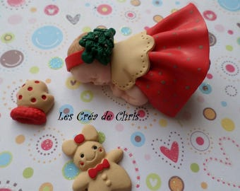 baby girl-themed Christmas polymer clay.