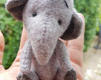 Hand sewn felt Elephant miniature.