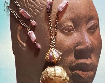 Set ethnic necklace and earrings with purple hard stones