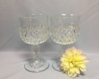Indiana Glass Diamond Point Wine Glasses - set of 2
