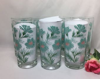 Boutonniere Pattern Drinking Glasses Taylor Smith Taylor Aqua Carnations - set of 7