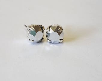 Chrome Swarovski Crystal  Stud Earrings- Silver Oxidized