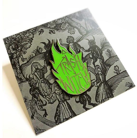 Glowing Trash Witch Pin