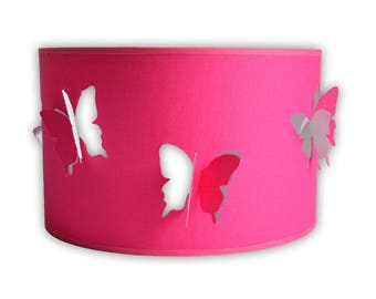 Pink butterfly Lampshade in relief