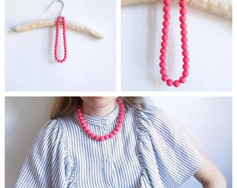 60's Vintage || Necklace || Pink || Beaded Necklace