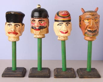 """Set of 4 19th Century """"Punch and Judy"""" Wooden Puppet Heads, on new stands,GERMAN"""