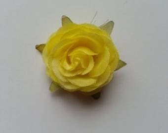 rose en tissu jaune 40mm