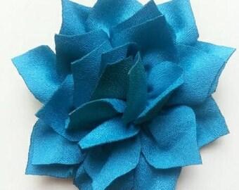 fleur en tissu bleu vert 70mm