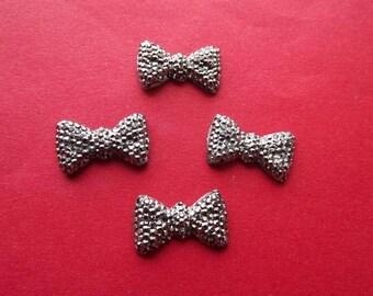 Cabochons big bows dark rhinestone (x 4)