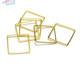 "20 ""square"" fine connectors 20 x 20 mm, gold"