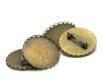 """4 prong supports cabochon """"30 mm round"""" bronze lace"""
