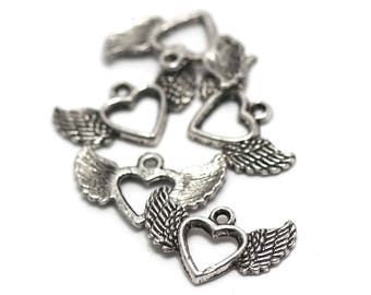 """10 charms """"winged heart"""", 20 x 12 mm, silver, A 019"""