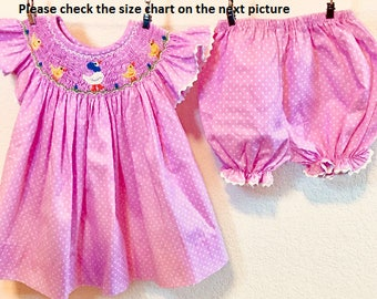 Easter Bloomer Smocked Set, Baby Bloomer Smocked Set, Ducks Bloomer Smocked Set