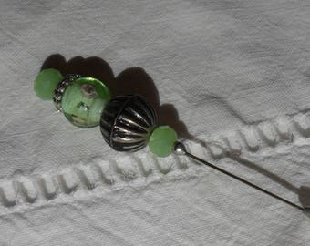 """""""Sea green"""" forgiveness pin, brooch pin lampwork and Crystal green opalescent glass"""