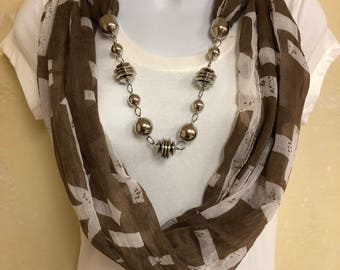 Light Weight Brown Infinity Scarf